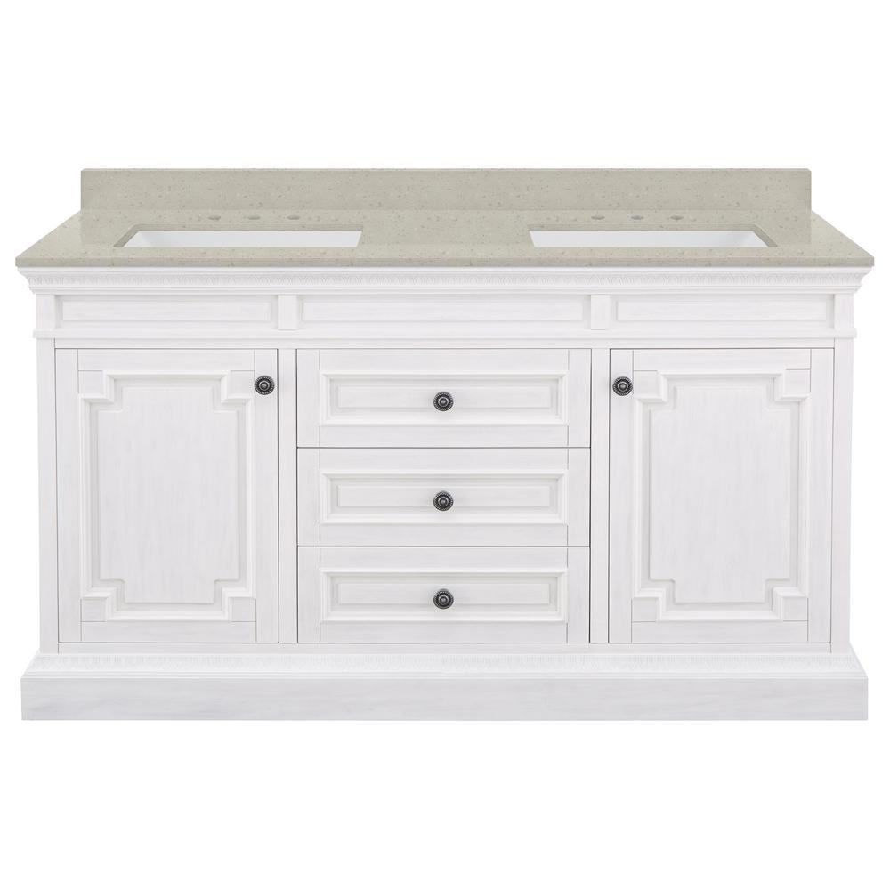 Home Decorators Collection Cailla 61 in. W x 22 in. D Bath Vanity in White Wash with Engineered Quartz Vanity Top in Stoneybrook with White Sinks was $1999.0 now $1399.3 (30.0% off)