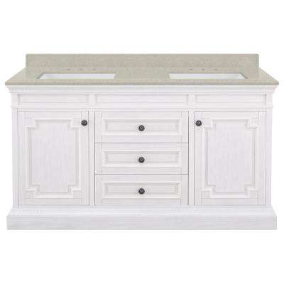 Cailla 61 in. W x 22 in. D Bath Vanity in White Wash with Engineered Quartz Vanity Top in Stoneybrook with White Sinks