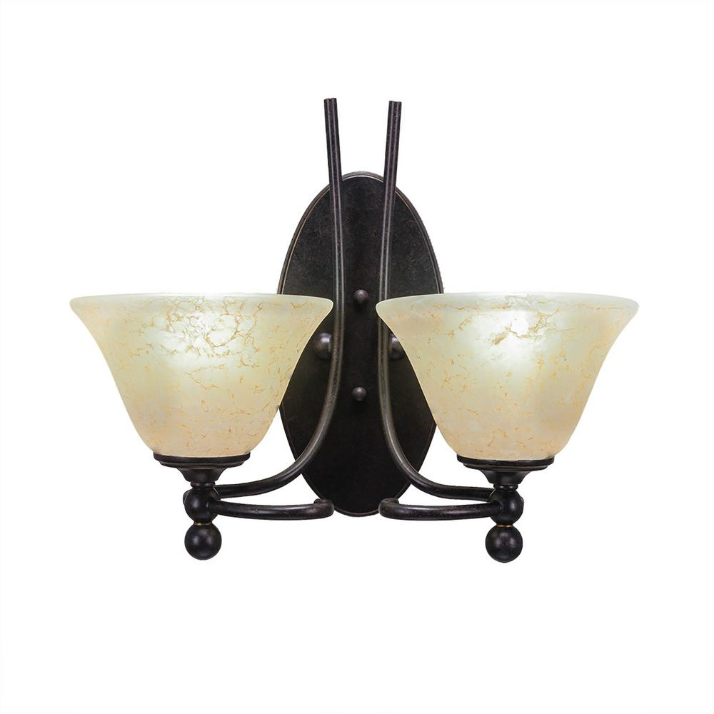 2-Light Dark Granite Sconce with Amber Marbleized Glass