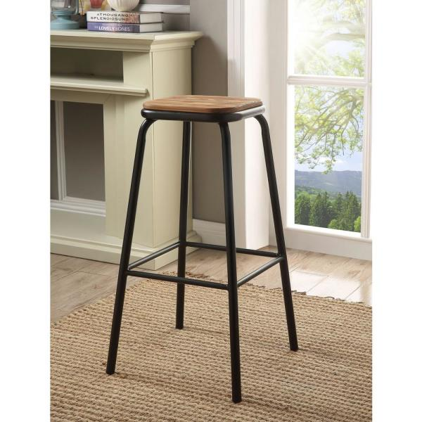 Scarus 30 in. Natural and Black Bar Stool