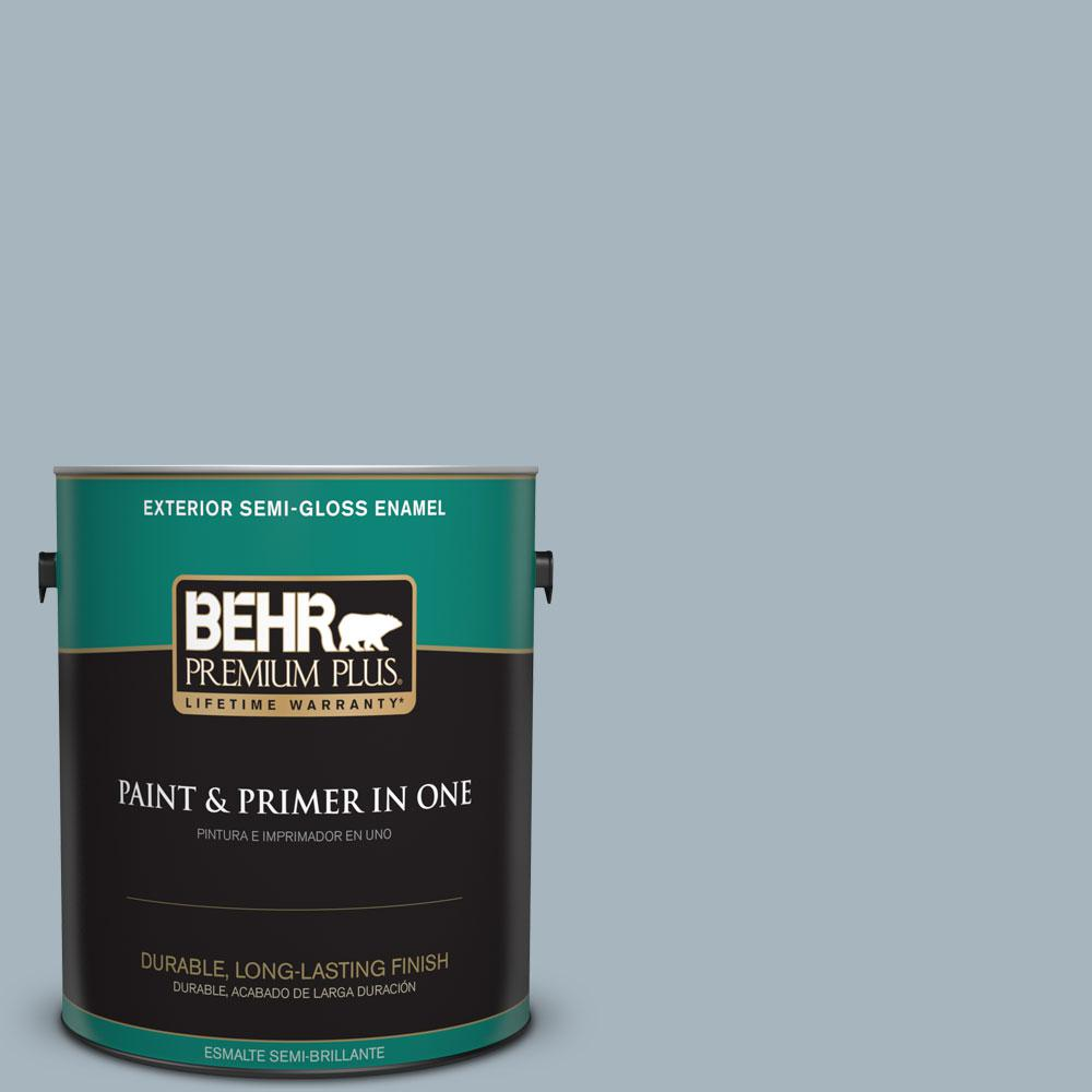 1-gal. #N480-3 Shadow Blue Semi-Gloss Enamel Exterior Paint