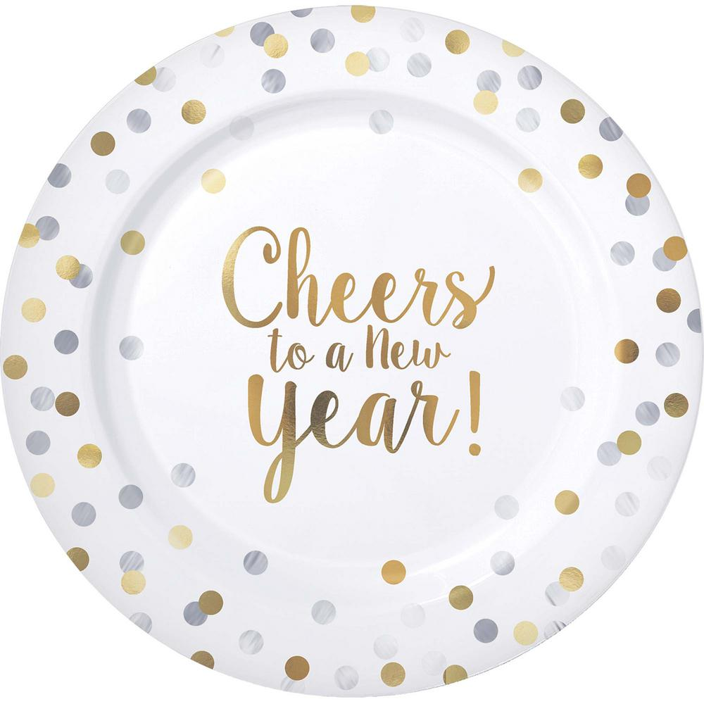 New Year's 10.25 in. Round Premium Plastic Plates (10-Count)