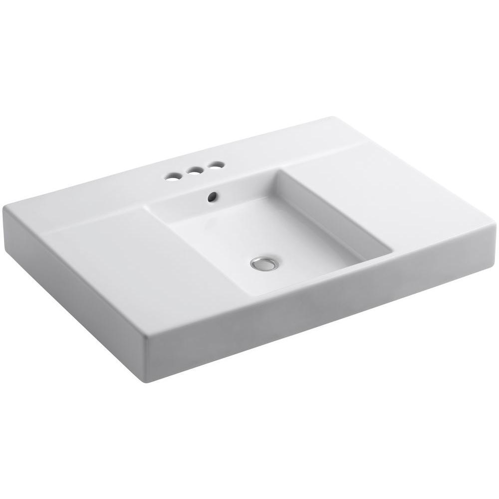 KOHLER Traverse 30-1/2 in. Fireclay Single Basin Vanity Top in White with White Basin