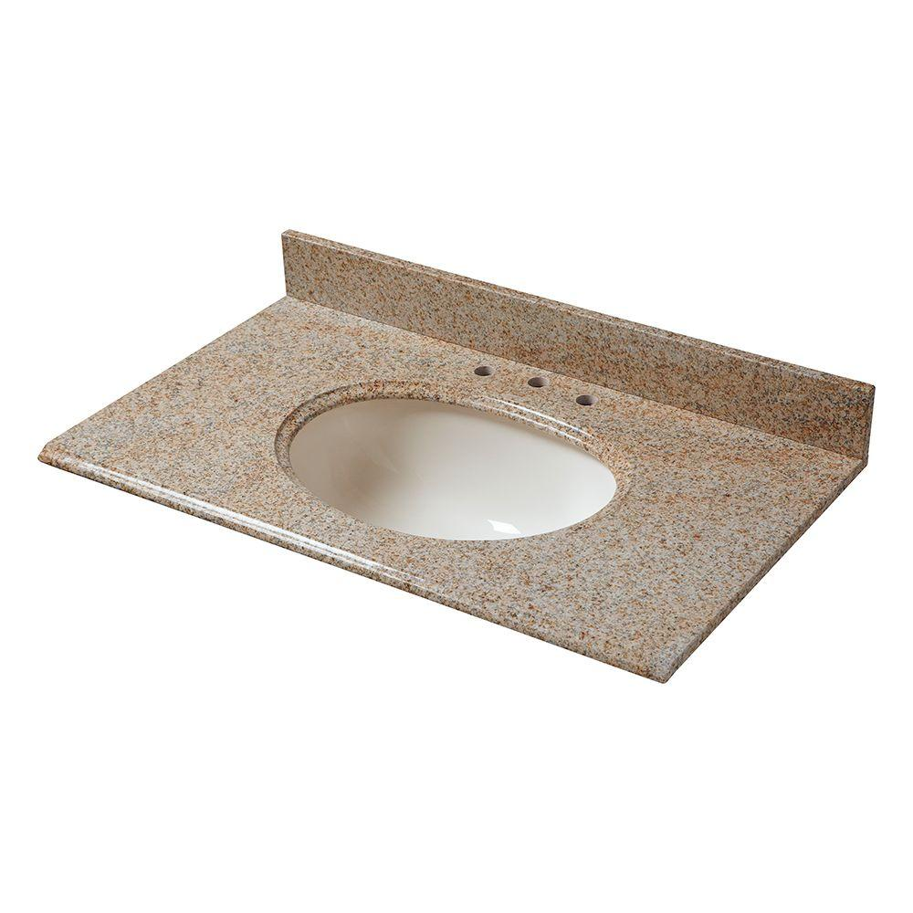 37 in. W Granite Vanity Top in Beige with Biscuit Bowl