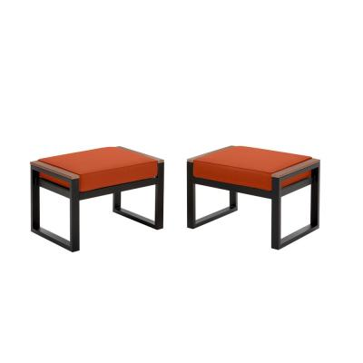 West Park Black Aluminum Outdoor Patio Ottoman with CushionGuard Quarry Red Cushion (2-Pack)