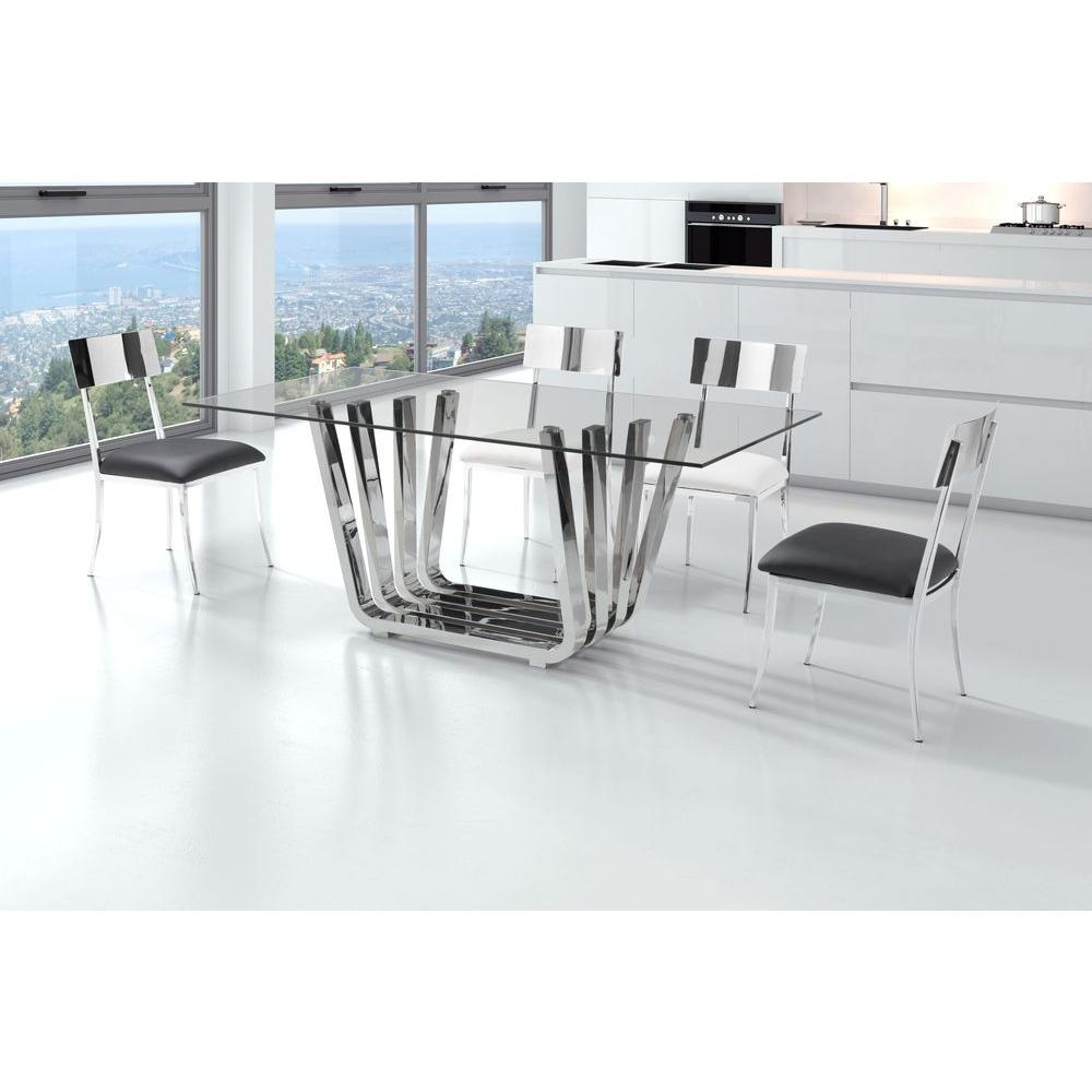 zuo fan chrome dining table-100325 - the home depot