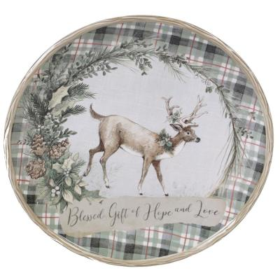 Holly and Ivy Multi-Colored 13 in. Earthenware Round Platter