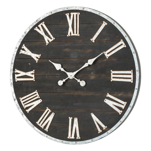 27.56 in. D Oversized Farmhouse Wooden and Galvanized Wall Clock