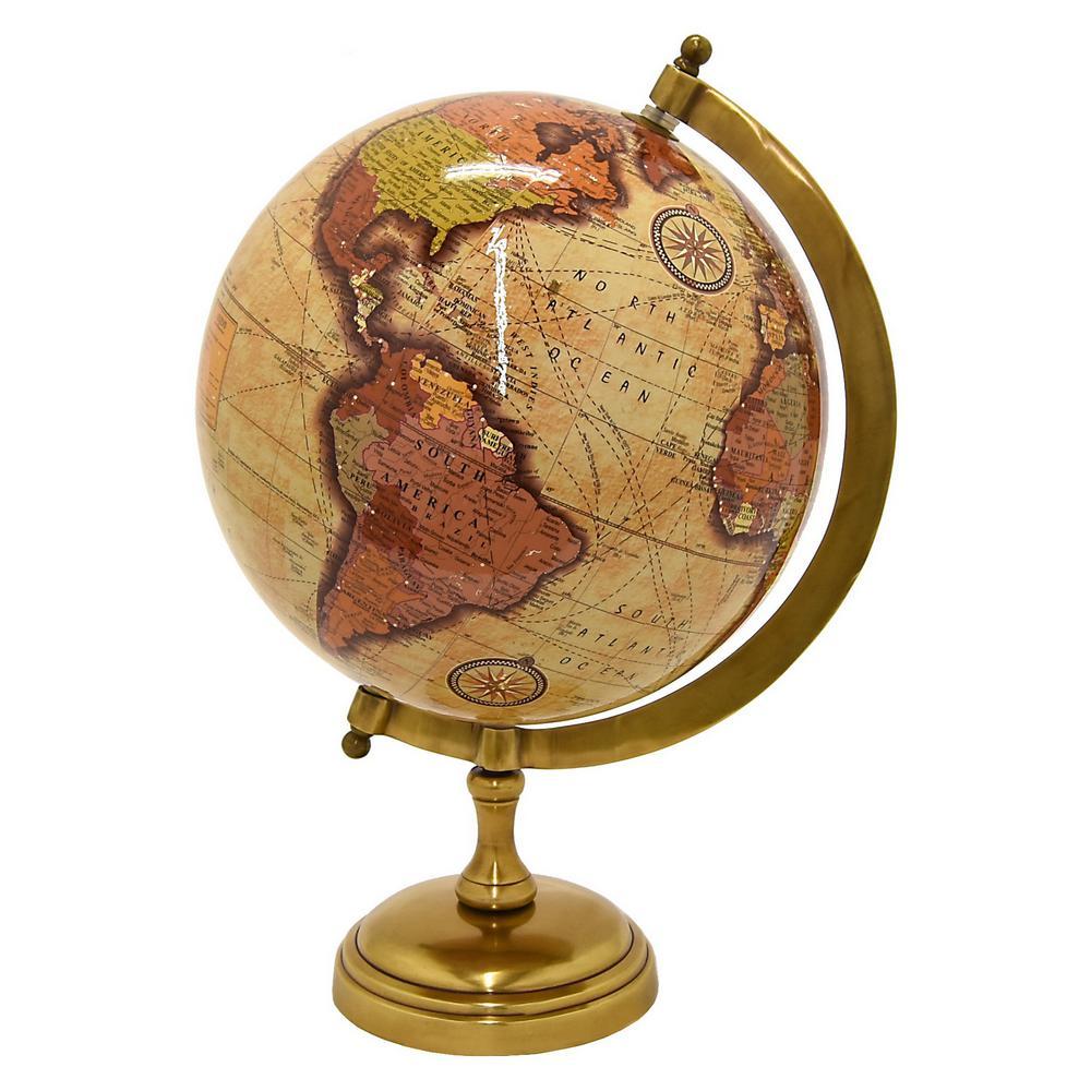 10 in. Globe Antique Brass Base