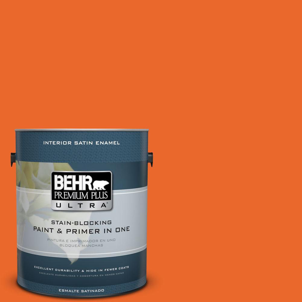 1 gal. #220B-7 Electric Orange Satin Enamel Interior Paint and Primer