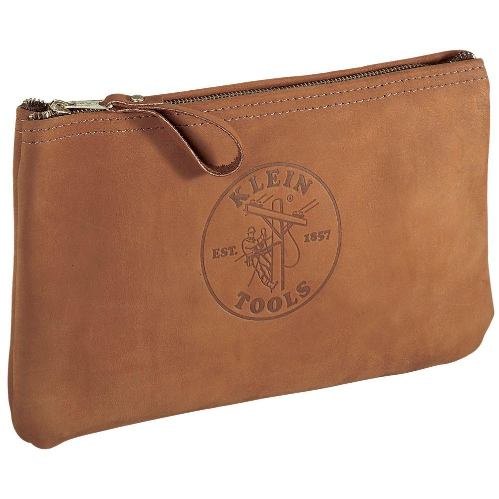 12-1/2 in. Leather Zipper Bag