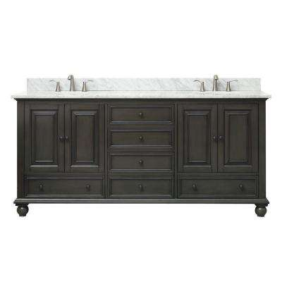Thompson 73 in. W x 22 in. D x 35 in. H Vanity in Charcoal Glaze with Marble Vanity Top in Carrera White with Basin
