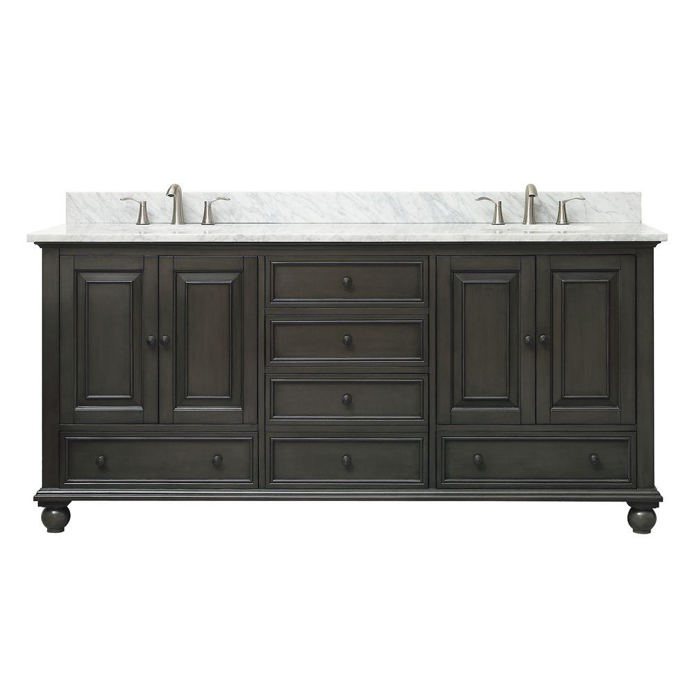 Avanity Thompson 73 in. W x 22 in. D x 35 in. H Vanity in Charcoal Glaze with Marble Vanity Top in Carrera White with Basin
