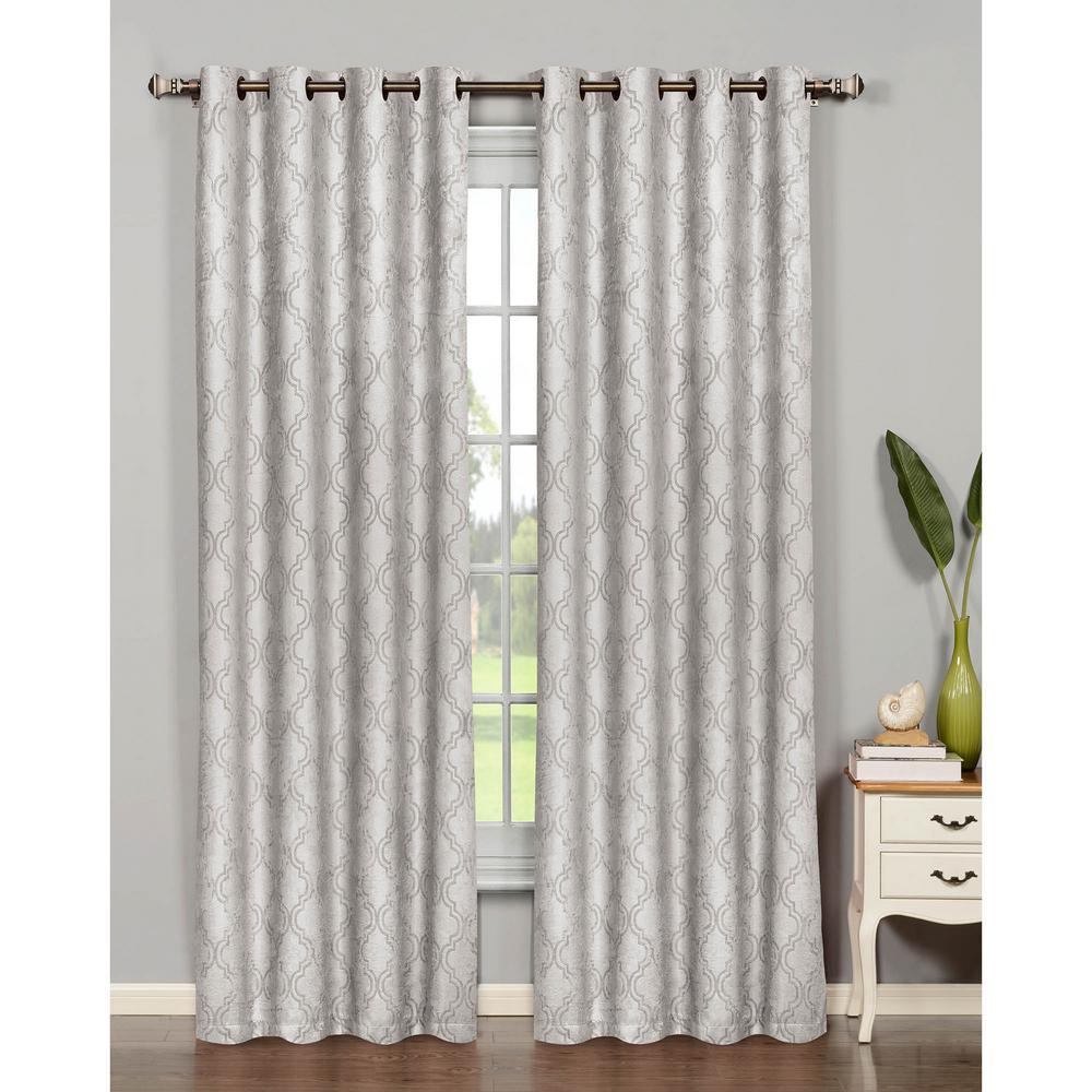 Semi-Opaque Bella Luna Newbury Lattice 84 in. L Room Darkening Grommet Curtain Panel Pair, Light Grey (Set of 2)