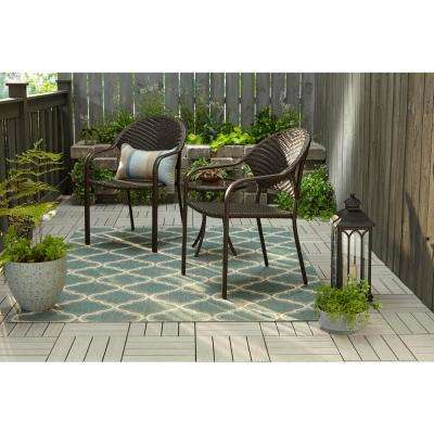 Mix and Match Dark Brown Wicker 18 in. Round Outdoor Accent Table
