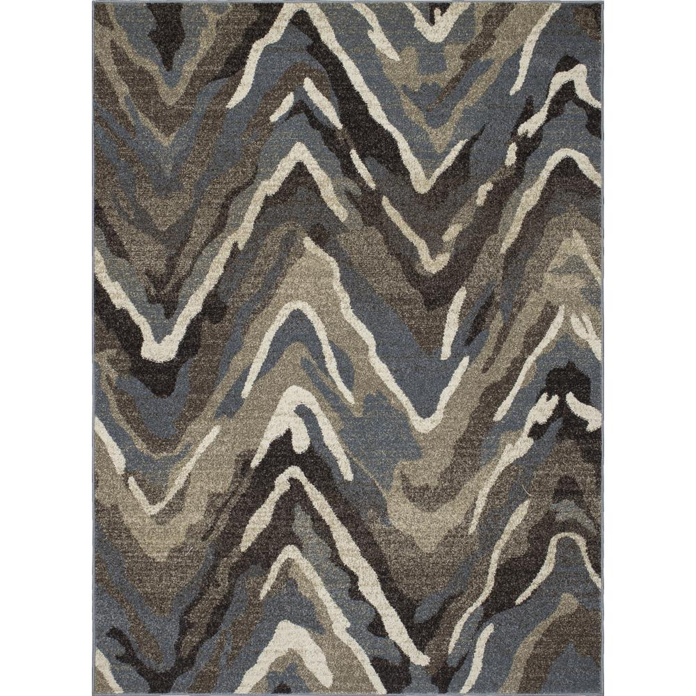 New Casa Waves Blue/Brown 8 ft. x 11 ft. Area Rug