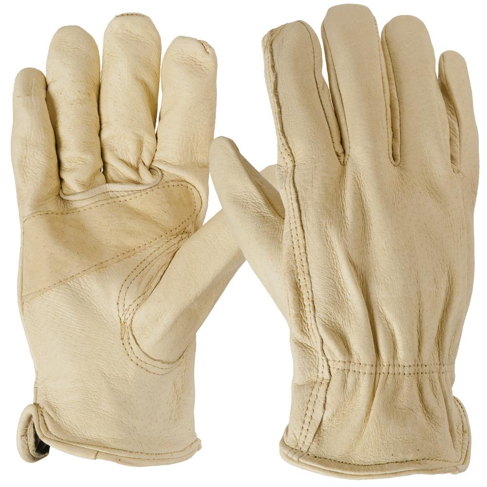 6 pairs work-tough gloves,genuine leather palm fully lined water proof large