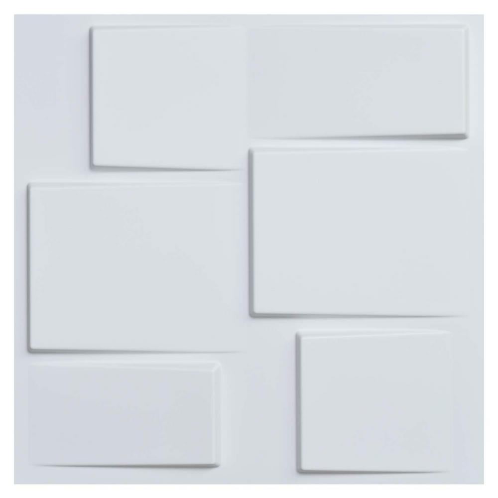 19.7 in. x 19.7 in. White PVC 3D Wall Panels Decorative