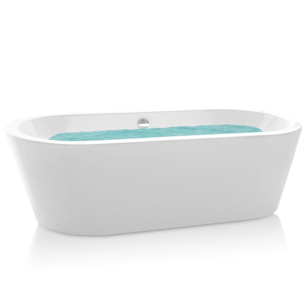 Acrylic Pop Up Drain Oval Double Ended Flatbottom Freestanding Bathtub In  White