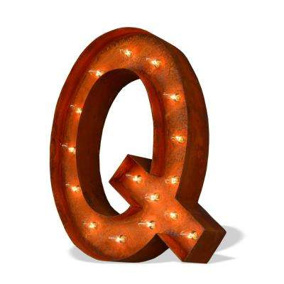 24 in. High Rusted Steel Alphabet Letter Q Plug-In Marquee Lights