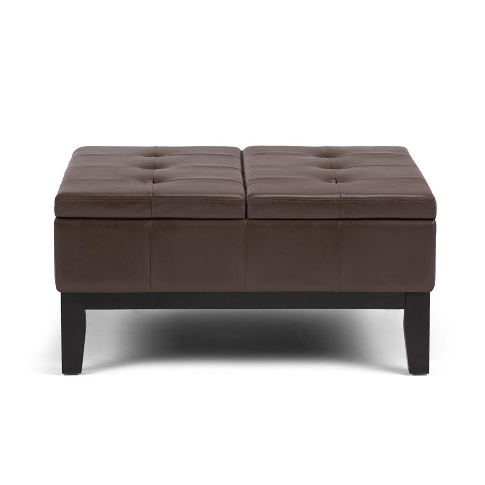 Simpli Home Dover Chocolate Brown Square Coffee Table Ottoman With Split Lift Up Lid