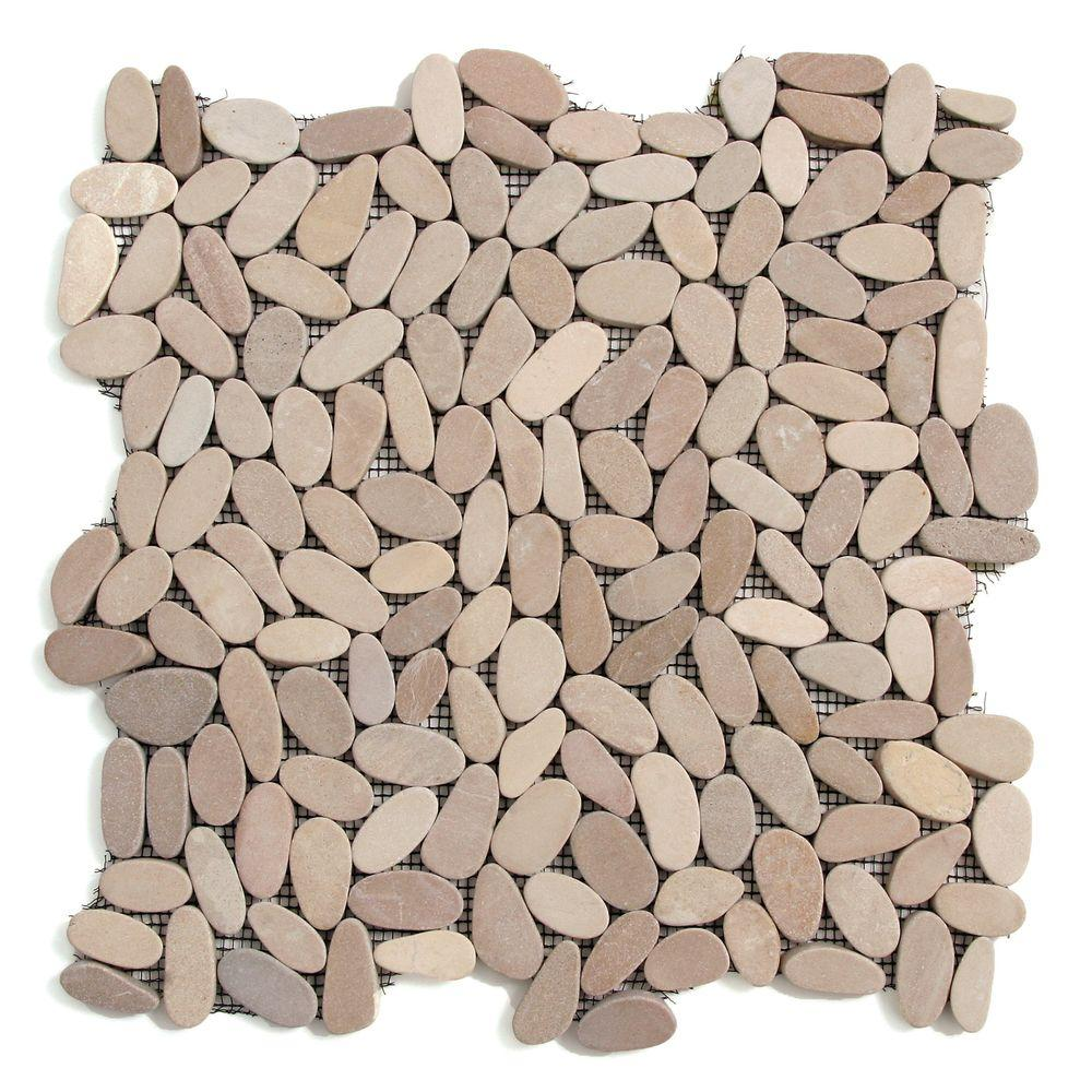 Solistone Kuala Madura Sands 12 in. x 12 in. x 12.7 mm Pebble Mosaic Floor and Wall Tile (10 sq. ft. / case)