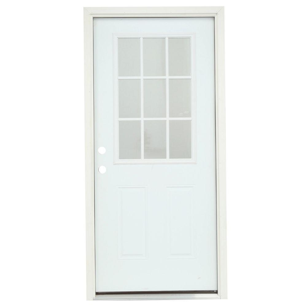 null 36 in. x 80 in. 9 Lite Primed Steel Prehung Right-Hand Inswing Front Door w/Brickmould