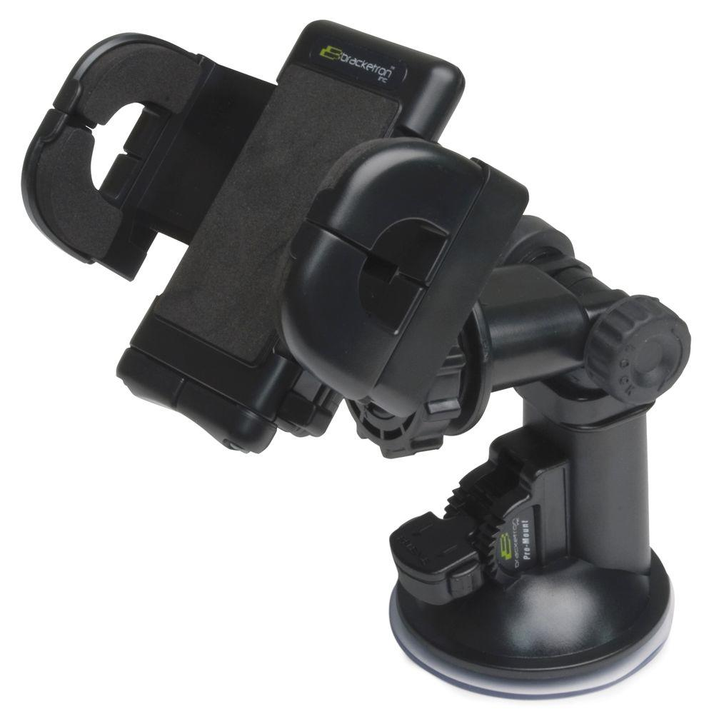 Bracketron Universal GPS Pro Mount, Black The Universal Pro Mount is a heavy duty windshield mount that provides a stable, secure and easily accessible mounting solution for your portable devices and is packaged with the Grip-it Universal Holder. Adjustable in both height and angle, and featuring the Quick Lock and Release Lever. The GPS Pro Mount easily installs onto the vehicles windshield. Color: Black.