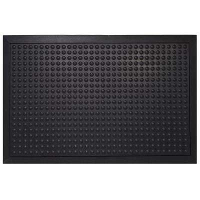 Black Durable Bubble Surface Anti-Fatigue Scraper 36 in. x 24 in. Rubber Floor Mat