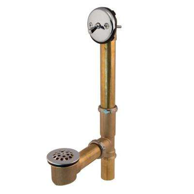 Trip Lever 1-1/2 in. 20-Gauge Brass Pipe Bath Waste and Overflow Drain in Chrome