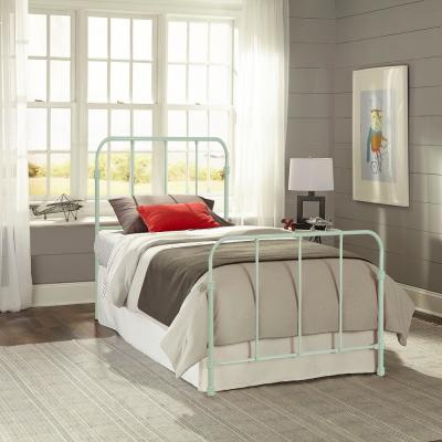 Nolan Mint Green Twin Headboard and Footboard With Metal Duo Panels