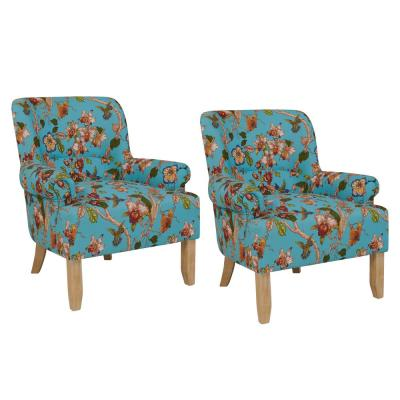 Craig Sky Blue Multi Floral with Birds Rolled Arm Chairs (Set of 2)