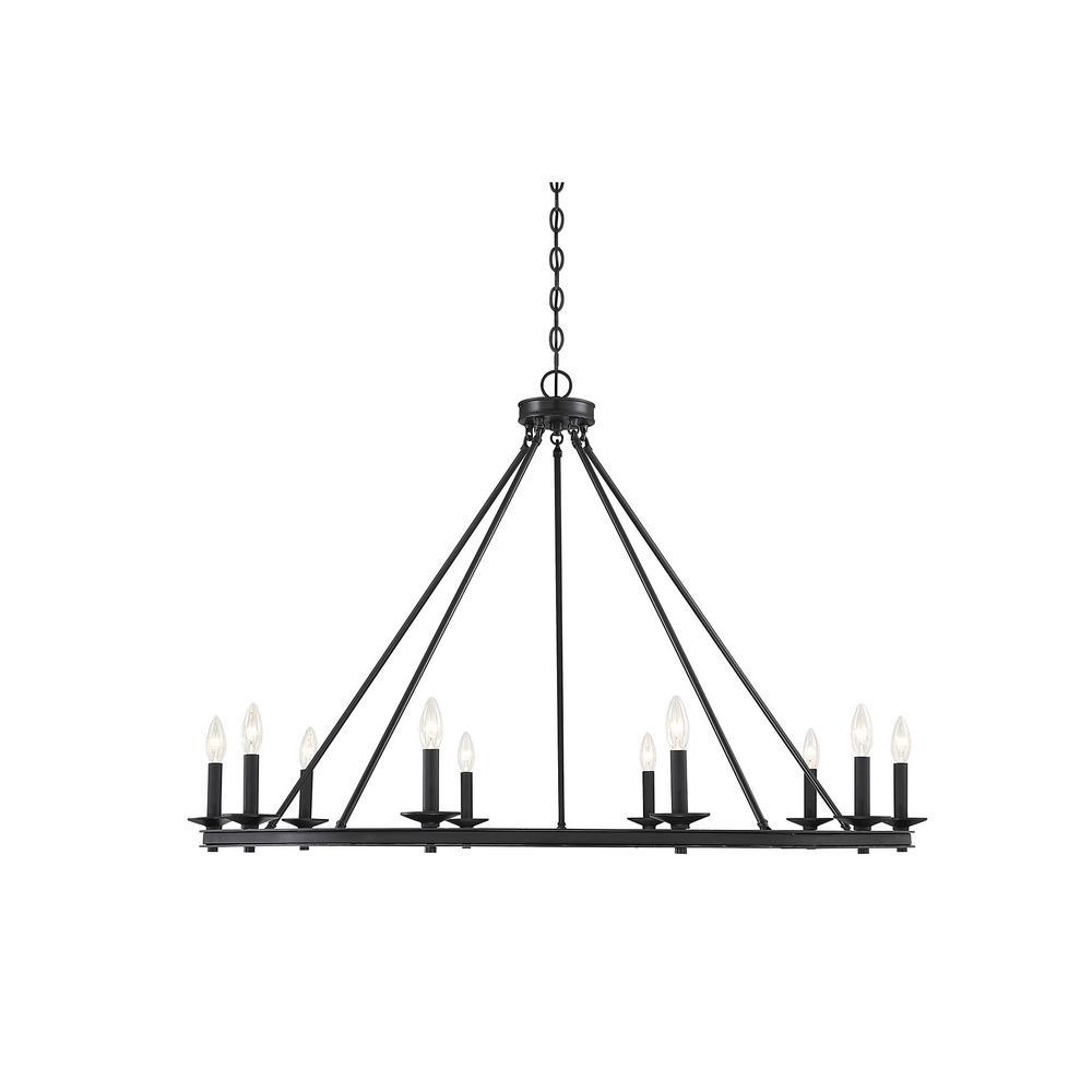 10-Light Matte Black Chandelier