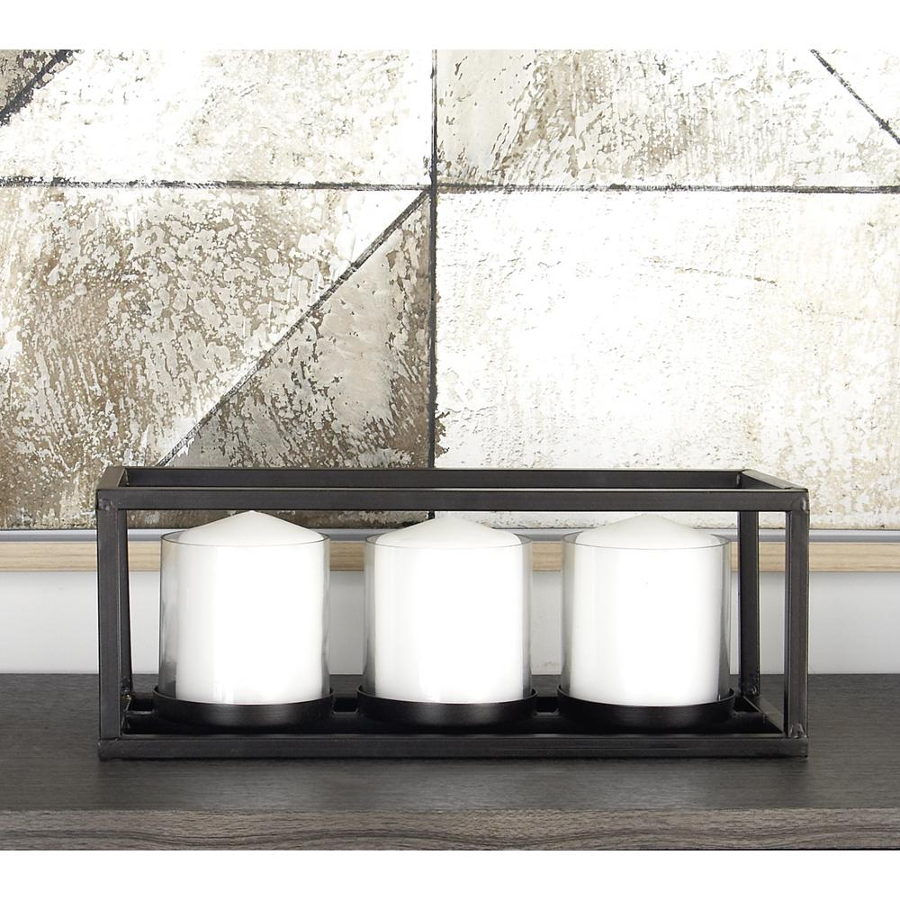 5 in. Black Iron and Clear Glass 3-Pedestal Rectangular Candle Holder
