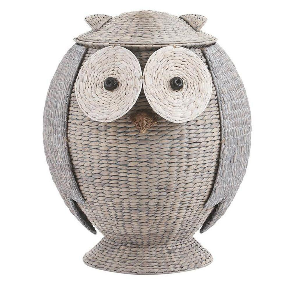 Owl 28 in. H x 22 in. W Grey Hamper with