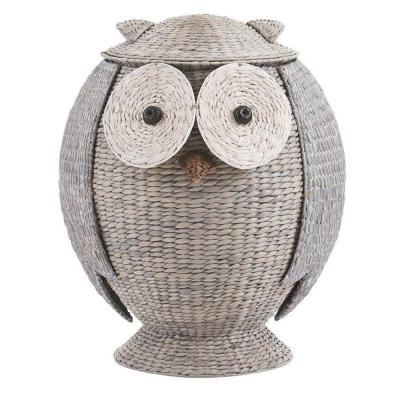 Owl 28 in. H x 22 in. W Grey Hamper with Removable Lid