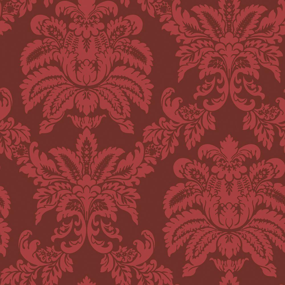 The Wallpaper Company 56 sq. ft. Red Majestic Damask Wallpaper