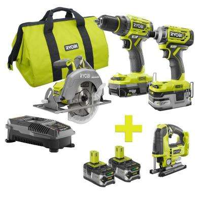 18-Volt ONE+ Lithium-Ion Cordless Brushless Combo Kit (3-Tool) w/Bonus Jigsaw and (2) 4Ah Batteries