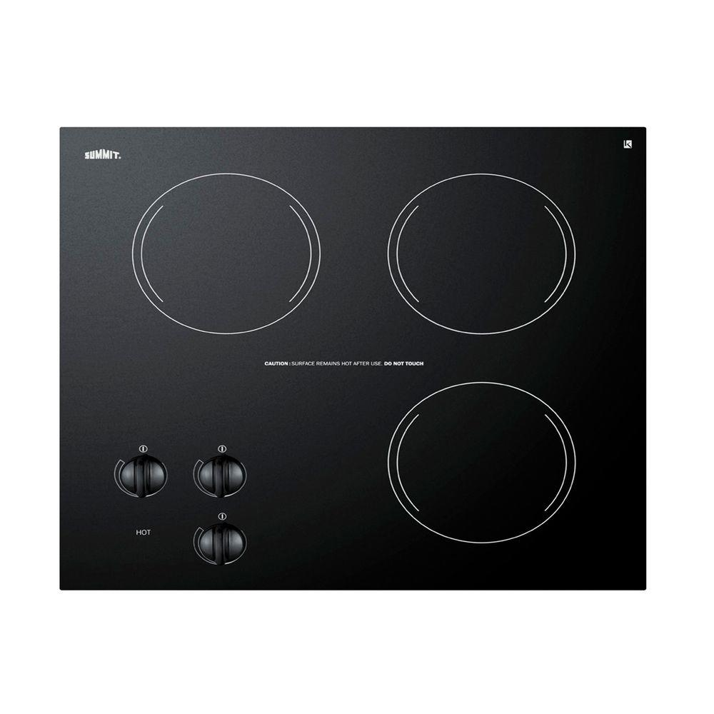Summit Appliance 21 in. Radiant Electric Cooktop in Black with 3 Elements