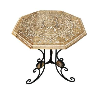 21 in. H Brown and Black Engraved Carved Octagonal Mango Wood Table with Scrolled Foldable Legs