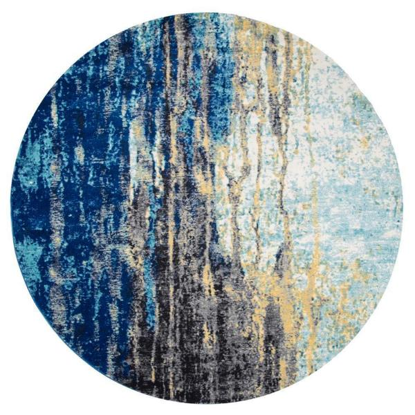 Katharina Modern Abstract Blue 4 ft. Round Rug