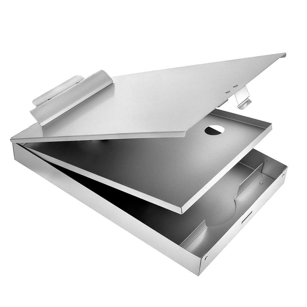 9.25 in. x 14 in. Aluminum Dual Compartment Storage Clipboard