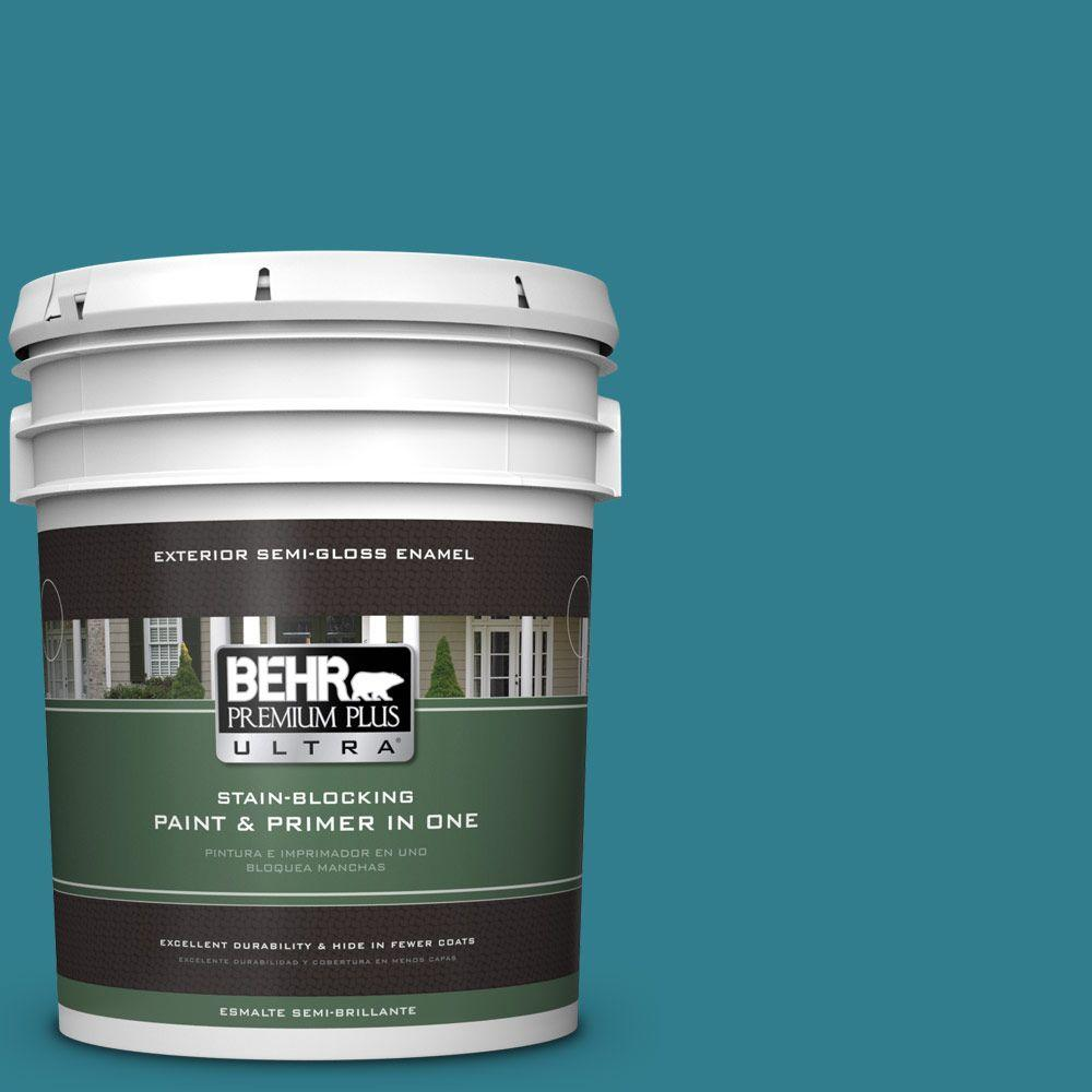 BEHR Premium Plus Ultra Home Decorators Collection 5-gal. #HDC-CL-27 Calypso Blue Semi-Gloss Enamel Exterior Paint