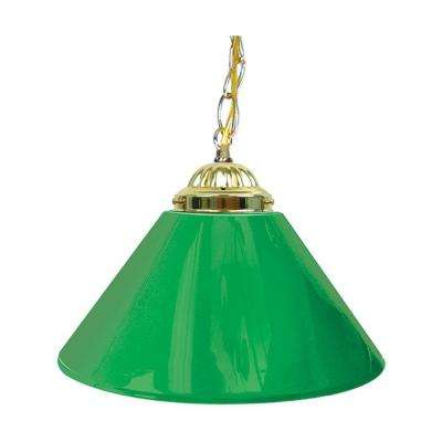 14 In. Single Shade Green And Brass Hanging Lamp