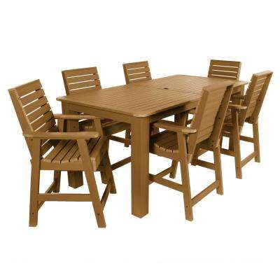 Weatherly Toffee 7-Piece Recycled Plastic Rectangular Outdoor Balcony Height Dining Set