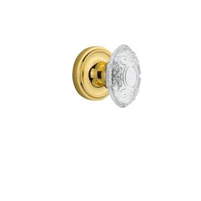 Classic Rosette Polished Brass Single Dummy with Crystal Victorian Door Knob