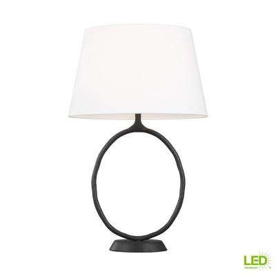 ED Ellen DeGeneres Crafted by Generation Lighting Indo 26.625 in. Aged Iron Table Lamp with Linen Shade and LED Bulb
