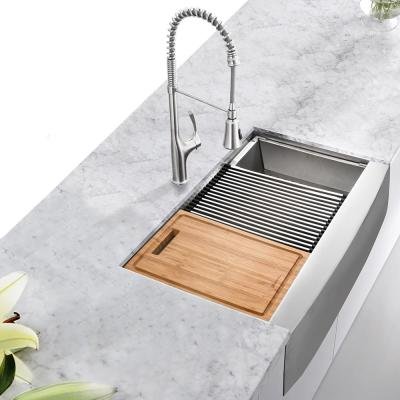 All-in-One Apron-Front Farmhouse Stainless Steel 36 in. 50/50 Double Bowl Workstation Sink with Faucet and Accessories