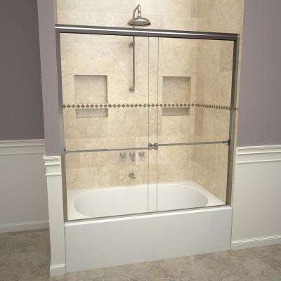 1000 Series 60 in. W x 57 in. H Semi-Frameless Sliding Tub Doors in Polished Chrome with Towel Bar and Clear Glass