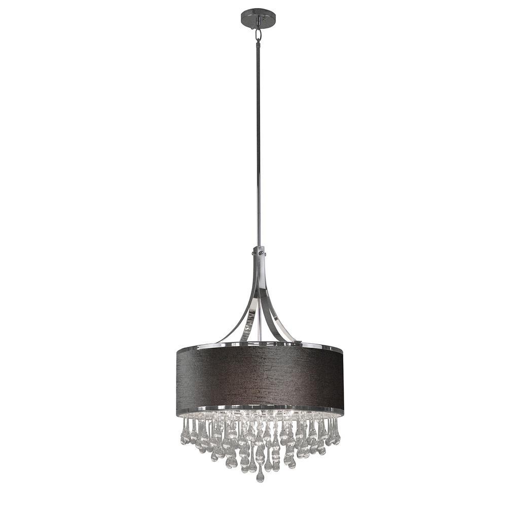 4-Light Chrome Chandelier with Gray Velvet Fabric Shade